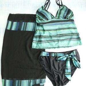 Tankini Bathing Suit & Sarong 3 Piece Swim Set